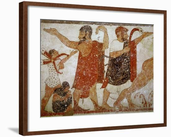 Two Men, from the Tomb of the Augurs, c.530-520 BC-Etruscan-Framed Giclee Print