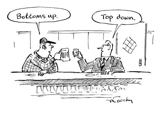 "Two men in bar toasting their drinks, one says ""Bottoms up."" one says ""Top? - New Yorker Cartoon-Mike Twohy-Premium Giclee Print"