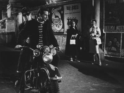 Two Men on a Motorbike in La Dolce Vita--Photographic Print
