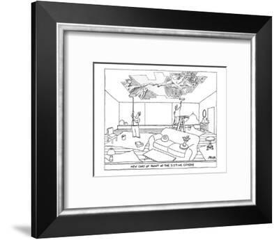 Two men paint the ceiling of an apartment with rollers. Instead of plain c? - New Yorker Cartoon-Jack Ziegler-Framed Premium Giclee Print