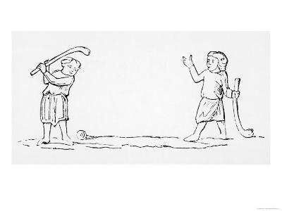 """Two Men Play a Game of """"Bandy-ball"""" a Primitive Form of Golf--Giclee Print"""