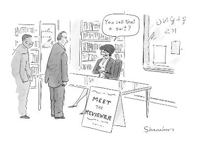 Two men waiting in bookstore line to, 'Meet the Reviewer,' who says, 'You ? - New Yorker Cartoon-Danny Shanahan-Premium Giclee Print