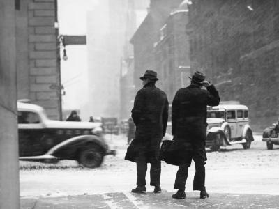 Two Men Walking on City Street in Snow-Storm-George Marks-Photographic Print