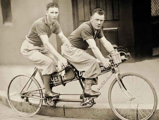Two Men Wearing Plus-Fours on a Tandem, Sydney, Australia, 1933--Photographic Print