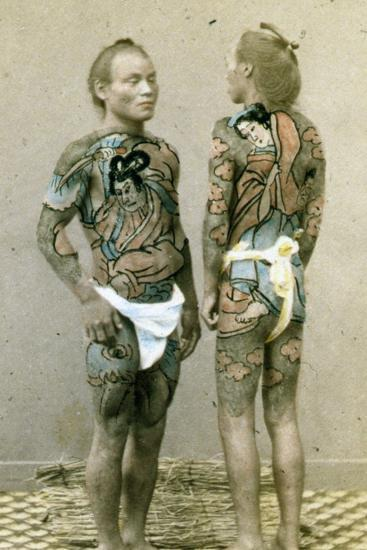 Two Men with Traditional Japanese Irezumi Tattoos, C.1880--Photographic Print