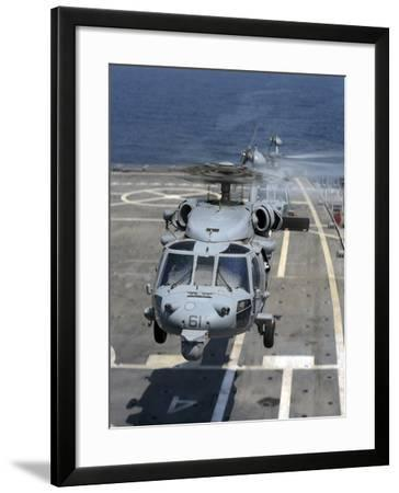 Two MH-60S Sea Hawk Helicopters Take Off from USS Ponce-Stocktrek Images-Framed Photographic Print