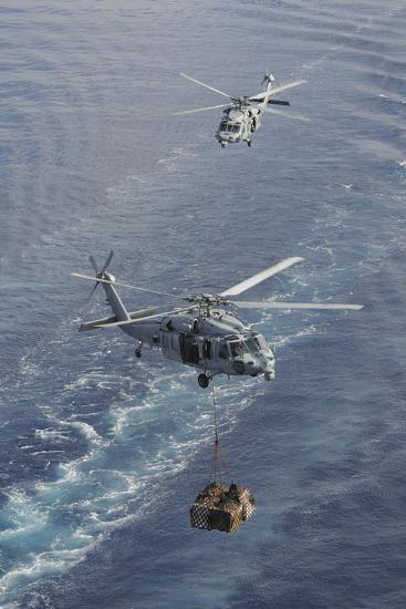 Two Mh-60S Sea Hawk Helicopters Transport Supplies--Photographic Print