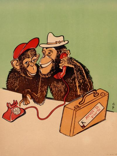 Two Monkeys Talking on a Telephone, C.1955--Giclee Print