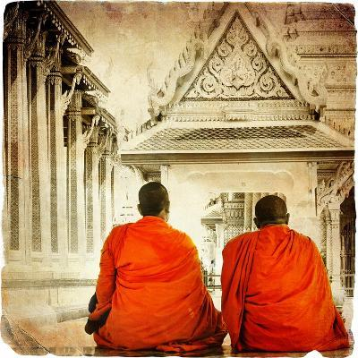Two Monks In Thai Temple - Artistic Toned Picture In Retro Style-Maugli-l-Art Print