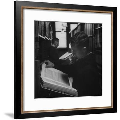 Two Monks in the Library at St. Benedicts Abbey-Gordon Parks-Framed Premium Photographic Print