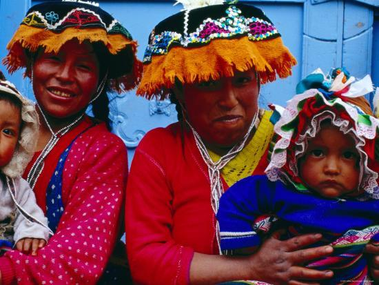 Two Mothers with Children in Traditional Colourful Clothing, Pisac, Cuzco, Peru-Jeffrey Becom-Photographic Print