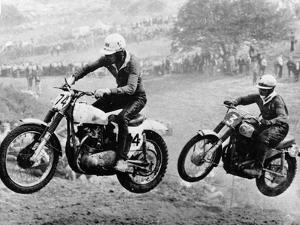 Two Motorcyclists Taking Part in Motocross at Brands Hatch, Kent