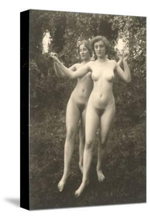 Two Naked Women Dancing Outdoors
