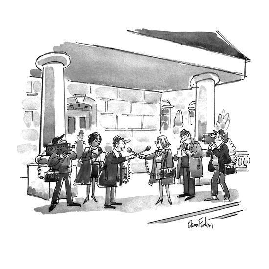 Two news teams interviewing eachother. - New Yorker Cartoon-Dana Fradon-Premium Giclee Print