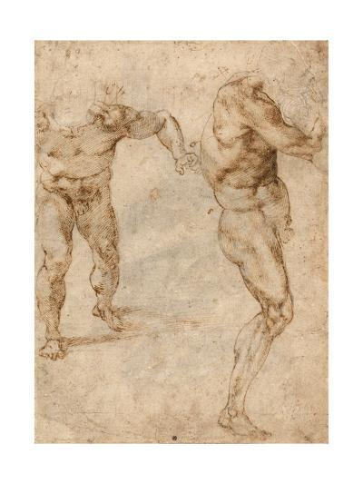 Two Nude Studies of a Man Storming Forward and Another Turning to the Right (Verso)-Michelangelo Buonarroti-Giclee Print