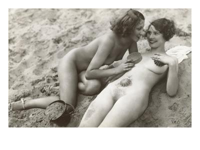 Two Nudes on Beach--Art Print