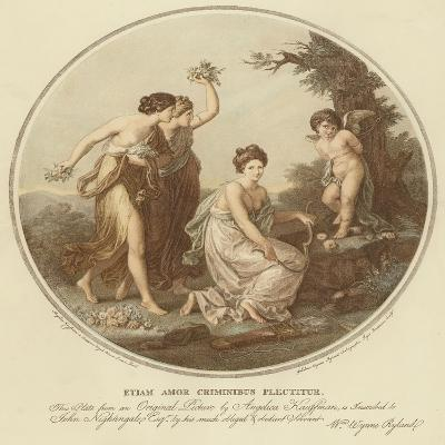 Two Nymphs Mock Cupid Who Is Tied to a Tree-Angelica Kauffmann-Giclee Print