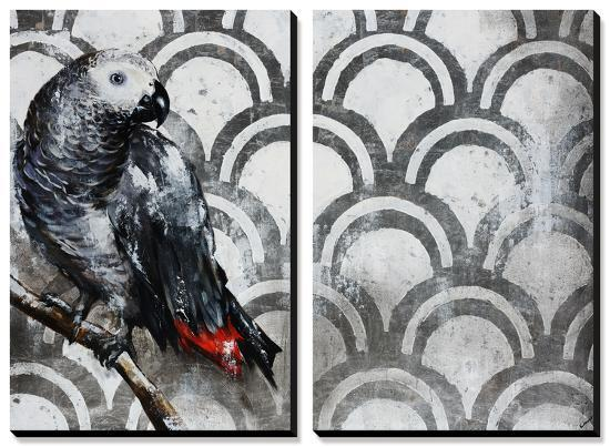 Two of a Feather - Grey Bird-Sydney Edmunds-Canvas Art Set