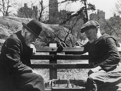 Two Old-Timers Playing Chess on a Central Park Bench in New York City, May 1946--Photo