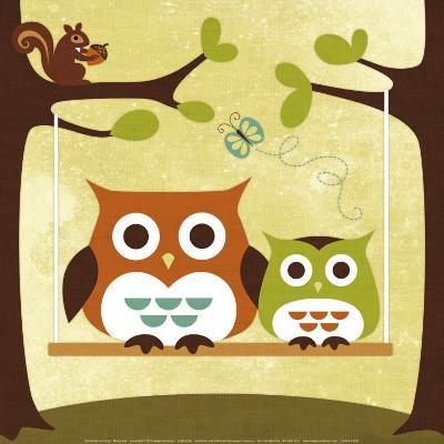 Two Owls on Swing-Nancy Lee-Art Print