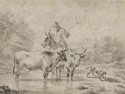 Two Oxen and a Shepherd on a Donkey Through the Ford--Giclee Print