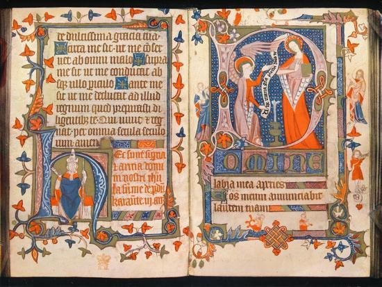 'Two pages from A Book of Hours', c1350-Unknown-Giclee Print