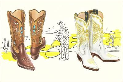 Two Pair of Fancy Cowboy Boots--Art Print