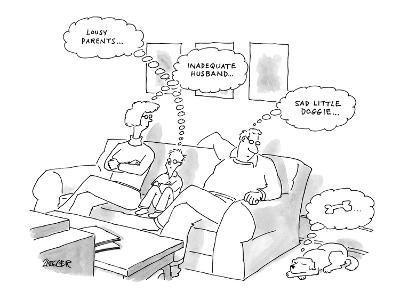 Two parents and their son sit on a couch, dog on floor. - New Yorker Cartoon-Jack Ziegler-Premium Giclee Print