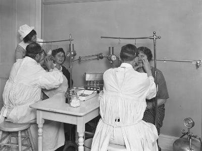 Two Patients Being Examined, Examining Room #2, Seton Hospital, Spuyten Duyvil, Bronx, Oct 30, 1914-William Davis Hassler-Photographic Print