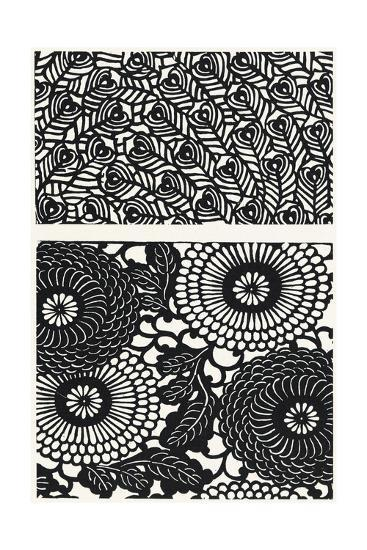 Two Patterns of Black and White Flowers and Leaves--Art Print