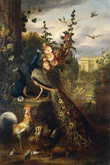 Two Peacocks on a Stone Plinth in a Garden-Jakob Bogdani Or Bogdany-Giclee Print