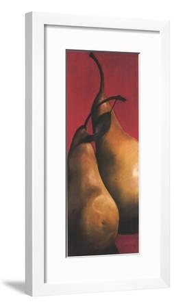 Two Pears on Red II-Sylvia Gonzalez-Framed Art Print