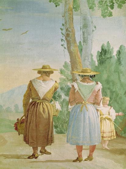 Two Peasant Women and a Child Seen from Behind, from the 'Foresteria' (Guesthouse) 1757-Giandomenico Tiepolo-Giclee Print
