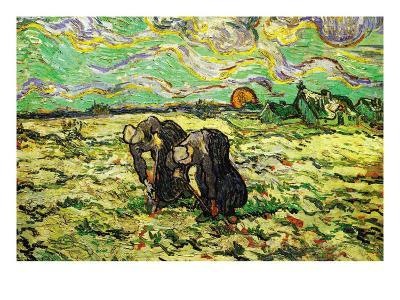 Two Peasant Women Digging In Field with Snow-Vincent van Gogh-Art Print