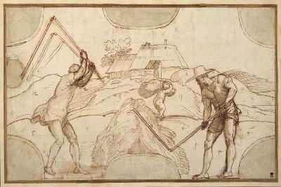 Two Peasants Threshing-Domenico Campagnola-Giclee Print