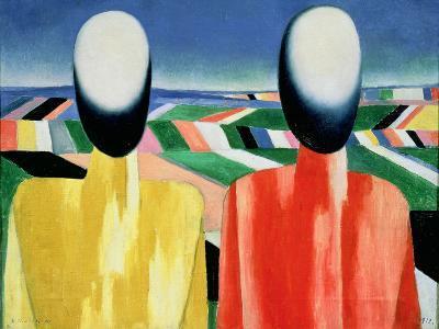 Two Peasants-Kasimir Malevich-Giclee Print