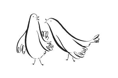 Two Pen and Ink Doves--Art Print