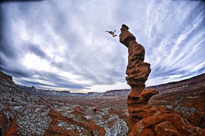 Two People Base Jump from Ancient Art at Fisher Towers-Keith Ladzinski-Photographic Print