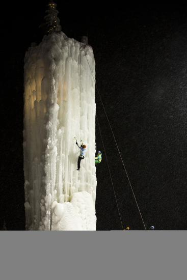 Two People Ice Climb a Tower at the Big White Ski Resort-Michael Hanson-Photographic Print