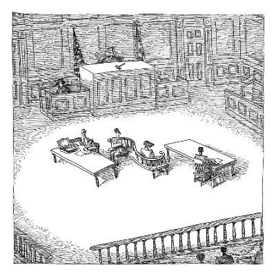 Two people sit on a modern-looking curved bench in the middle of a court-room. - New Yorker Cartoon-John O'brien-Premium Giclee Print