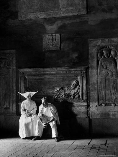 Two People Sitting in Hospital Where St. Catherine Nursed People with the Plague-Walter Sanders-Photographic Print