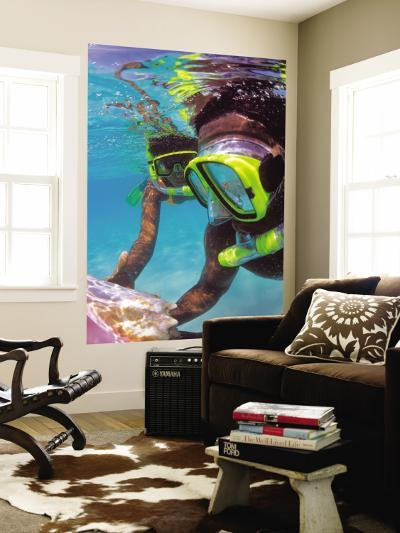 Two People Snorkelling in Blue Water-Greg Johnston-Wall Mural