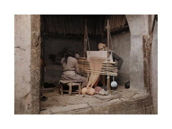 Two People Work on a Handloom in a Weaving Capital, Damascus-Gervais Courtellemont-Photographic Print