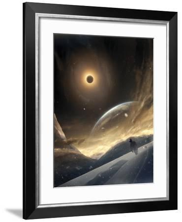 Two Persons Trying To Find Their Way On An Unknown Alien Planet-Stocktrek Images-Framed Photographic Print