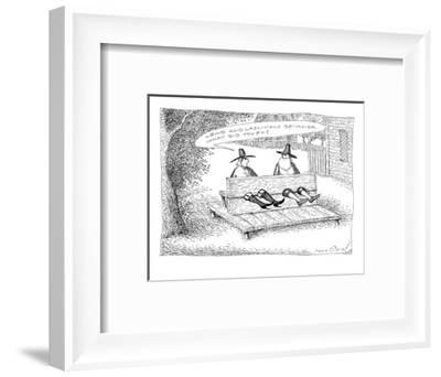 Two pilgrims in stocks.  One is wearing fishnet stockings and garters.  He? - New Yorker Cartoon-John O'brien-Framed Premium Giclee Print