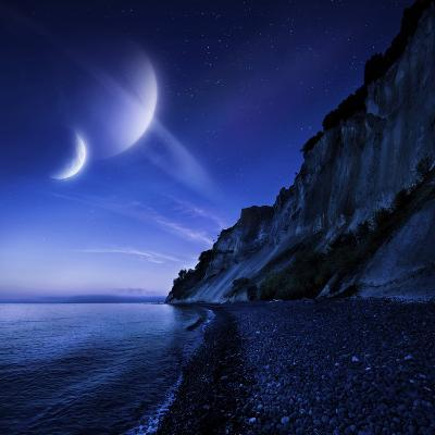 Two Planets Hover over a Tranquil Sea and Mons Klint Cliffs, Denmark--Photographic Print