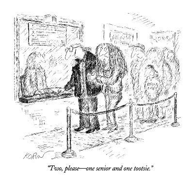 """Two, please?one senior and one tootsie."" - New Yorker Cartoon-Edward Koren-Premium Giclee Print"