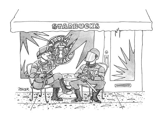 Two police in full riot gear stop at a trashed Starbucks in the wake of th… - New Yorker Cartoon-Jack Ziegler-Premium Giclee Print