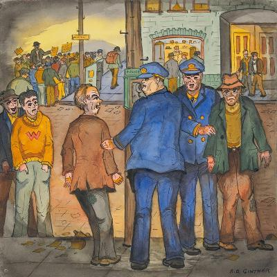 Two Police Officers Arresting Two Drunks on a Street of the Skid Road Area of Seattle-Ronald Ginther-Giclee Print
