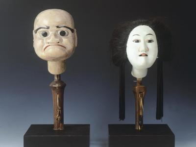 Two Puppet Heads from Bunraku Theater--Giclee Print